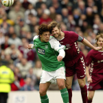 Hibernian's Abdessalam Benjelloun collides with Heart of Midlothian's Steven Pressley, resulting in Steven Pressley coming off with concussion