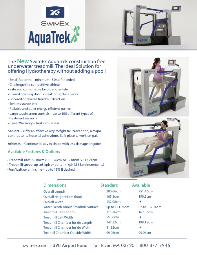SwimEx AquaTrek Information Sheet Metric