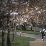 A cyclist exercises in Alexandra Palace, North London as the UK continues in lockdown to help curb the spread of the virus.