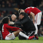 Tahith Chong of Manchester United checked for concussion during the UEFA Europa League match at Old Trafford, Manchester. Picture date: 27th February 2020. Picture credit should read: Darren Staples/Sportimage via PA Images